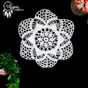 Handmade 7 inches White Colour Crochet Doilies - Mercerised Cotton - Utopian Craftsmen