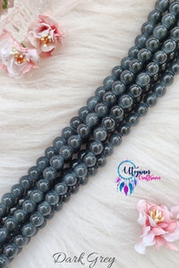 Dark Grey Colour Round Shaded Blue Colour Glass Beads 10mm - Approx 40 Pcs - Utopian Craftsmen