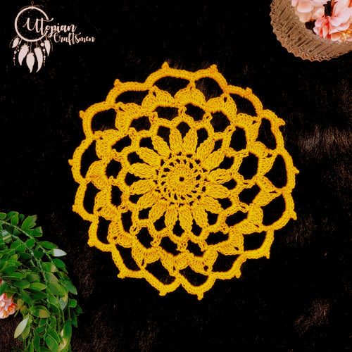 Handmade 6 inches Mustard Colour Crochet Doilies - Mercerised Cotton - Utopian Craftsmen