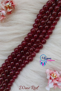 Wine Red/ Pinkish Maroon Colour Round Shaded Blue Colour Glass Beads 10mm - Approx 40 Pcs - Utopian Craftsmen
