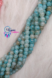 Shaded Sky blue Colour 8mm Glass Beads