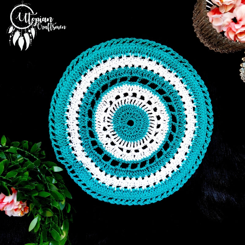 Handmade 6 inches Turquoise & White Colour Crochet Doilies - Mercerised Cotton - Utopian Craftsmen