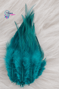 100 pcs Teal Green Colour Long Pointed Chicken Feathers - Utopian Craftsmen