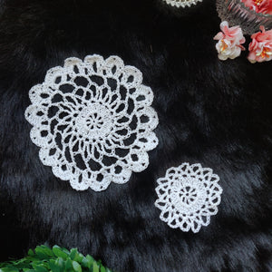 Set of 2 Handmade(2.3 inches and 4.5 inches) White Colour Crochet Doilies - Mercerised Cotton - Utopian Craftsmen