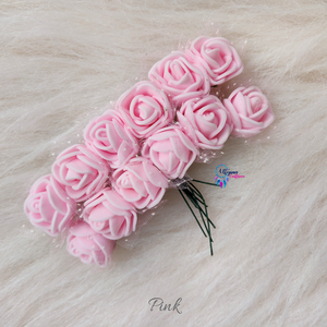 Pink Colour Mini Artificial Foam Flowers - Pack of 12 (DIYCrafts) - Utopian Craftsmen