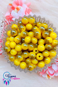 Dual shade Yellow Colour Round Acrylic Beads - Approx 100 Pcs in a Packet - Utopian Craftsmen