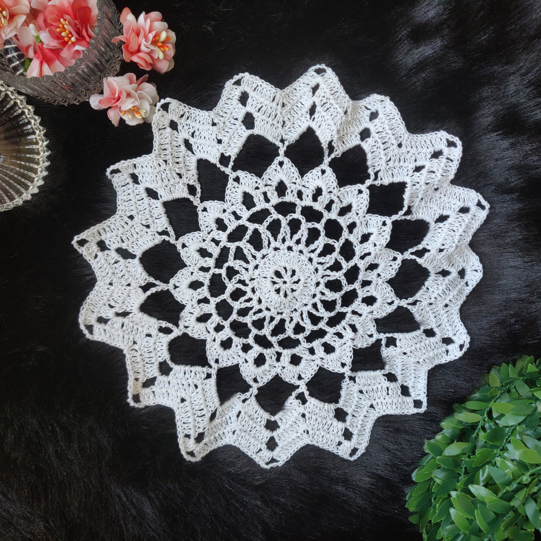 Handmade 7.5 inches White Colour Crochet Doilies - Mercerised Cotton - Utopian Craftsmen