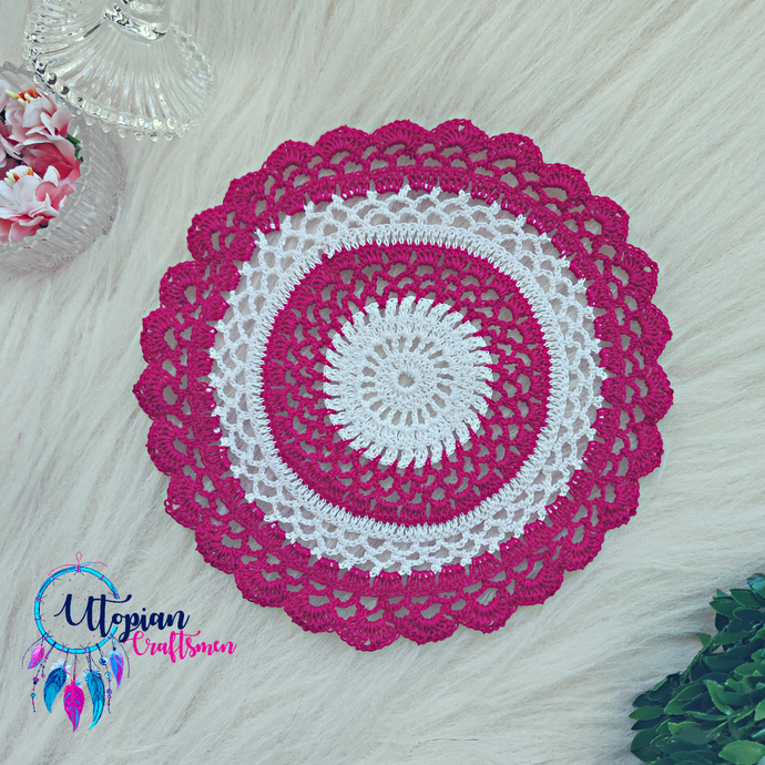 Handmade 8 inches Hot Pink & White Colour Crochet Doilies - Mercerised Cotton - Utopian Craftsmen
