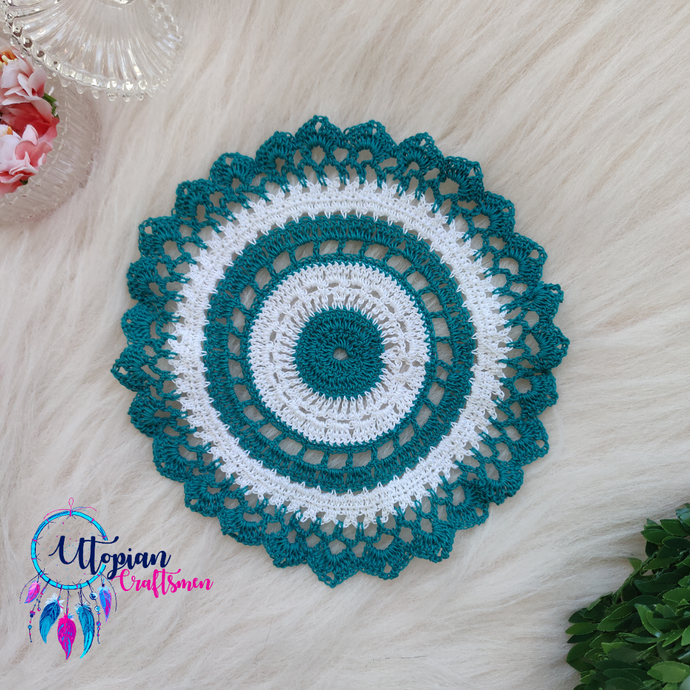 Handmade 7 inches Turquoise & White Colour Crochet Doilies - Mercerised Cotton - Utopian Craftsmen