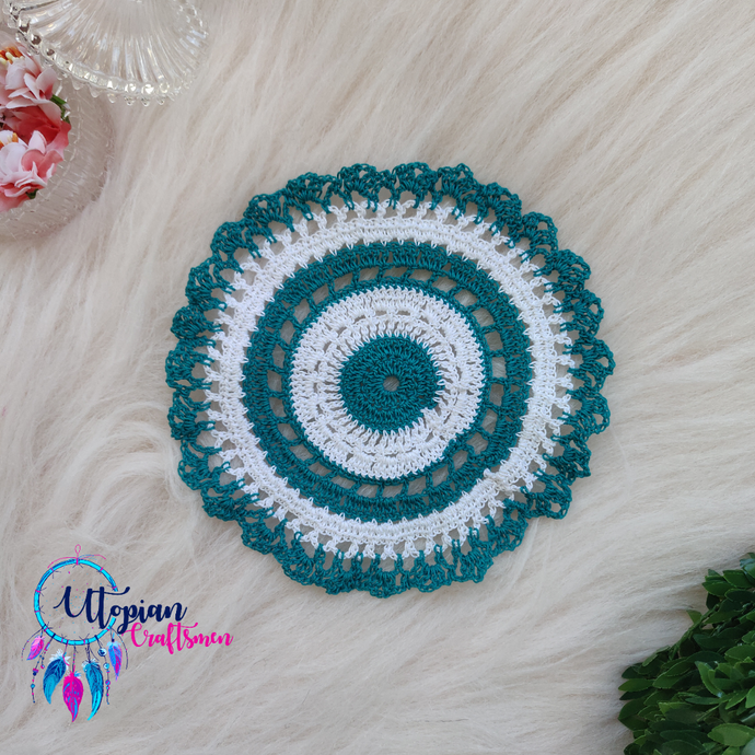 Handmade 6.5 inches Turquoise & White Colour Crochet Doilies - Mercerised Cotton - Utopian Craftsmen