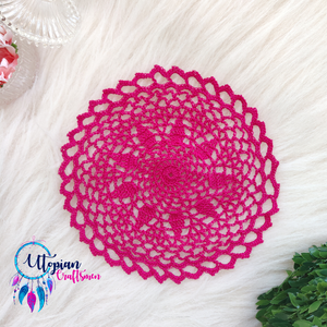 Handmade 7.5 inches Hot Pink Colour Crochet Doilies - Mercerised Cotton - Utopian Craftsmen
