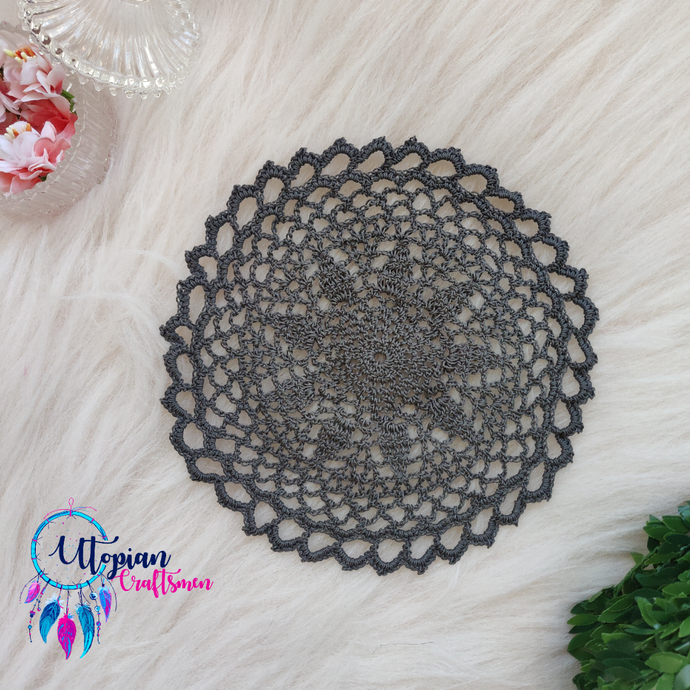 Handmade 7.2 inches Dark Grey Colour Crochet Doilies - Mercerised Cotton - Utopian Craftsmen