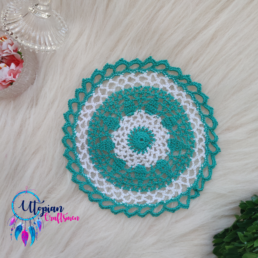 Handmade 7 inches Turquoise and white Colour Crochet Doilies - Mercerised Cotton - Utopian Craftsmen