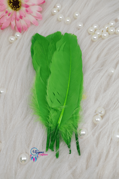 Buy online Fluorescent Green Colour Long Goose Feathers for Dream catchers | Utopian Craftsmen