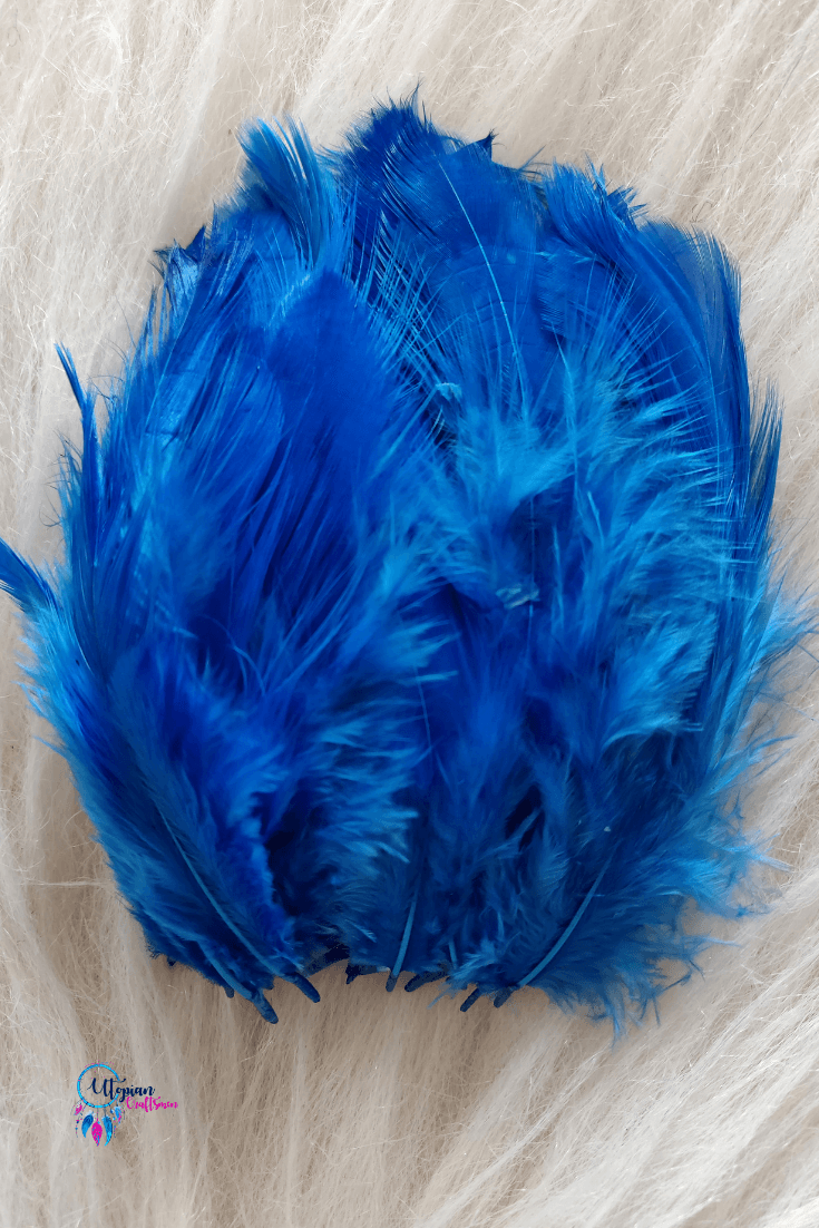 100 pcs Shade of Blue Colour Chicken Feathers by Utopian Craftsmen - Utopian Craftsmen