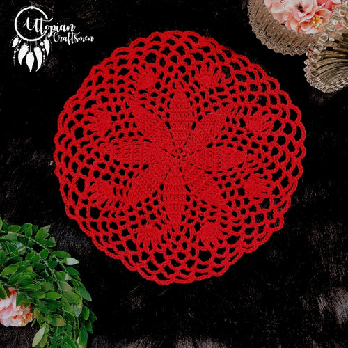Handmade 6.5 Inch Red Colour Crochet Doilies - Mercerised Cotton - Utopian Craftsmen