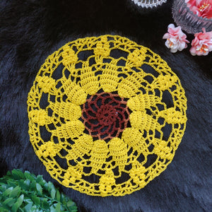 Handmade 8 inches Yellow Brown Colour Crochet Doilies - Mercerised Cotton - Utopian Craftsmen