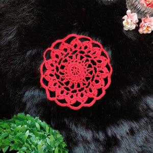 Handmade 5 inches Red Colour Crochet Doilies - Mercerised Cotton - Utopian Craftsmen