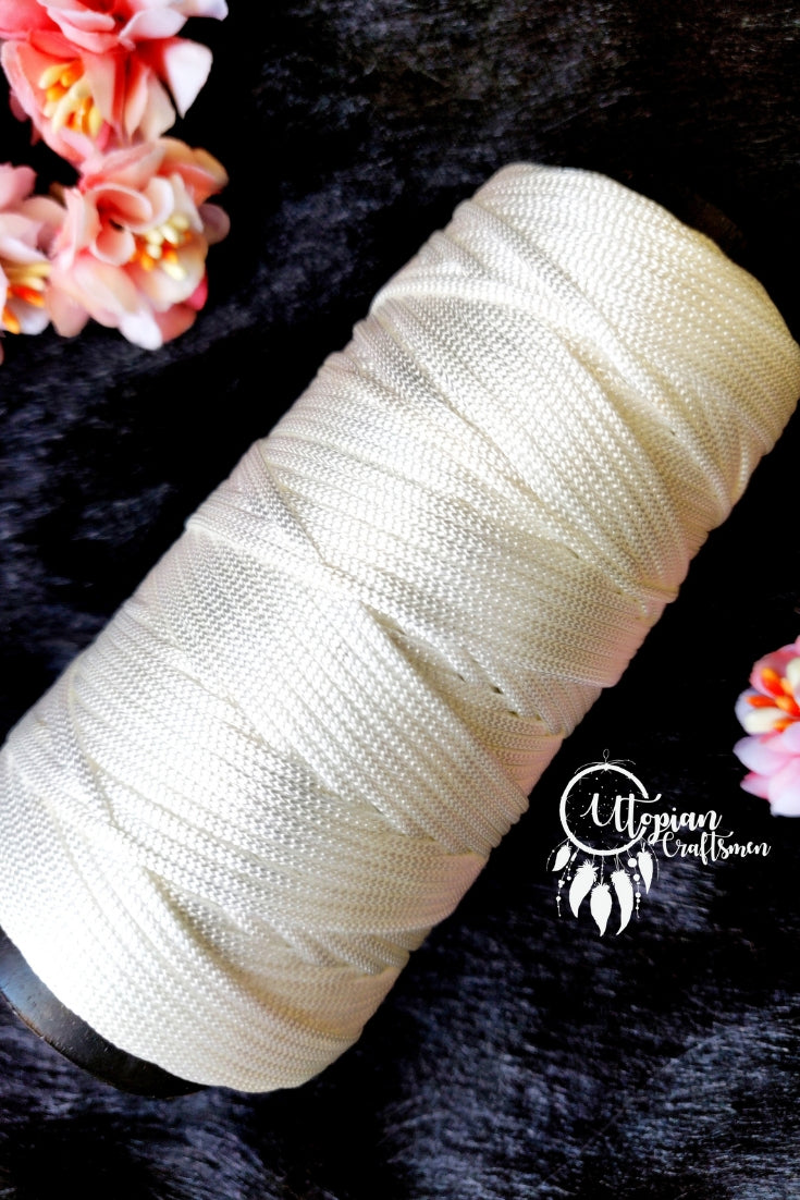White Colour Purse Cone Thread for Weaving & Knitting - Approx 125 metres. - Utopian Craftsmen