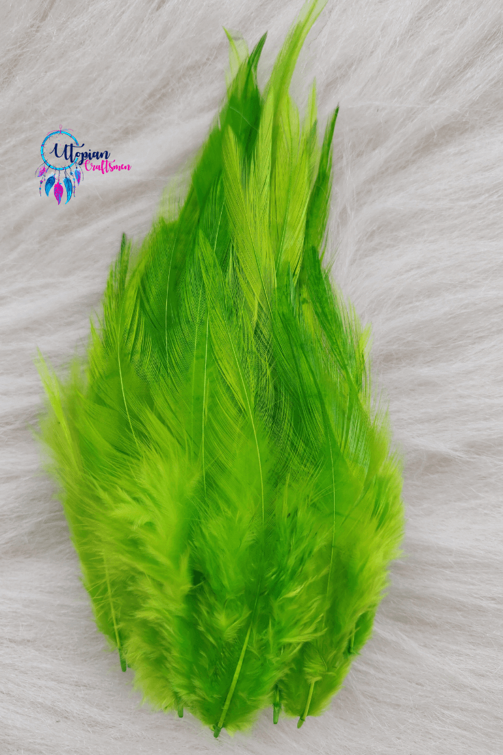 100 pcs Flurorescent Green Colour Long Pointed Chicken Feathers - Utopian Craftsmen
