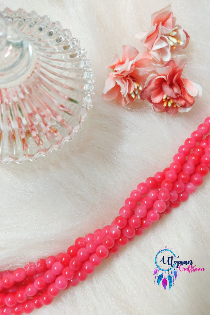 Round Shaded Rose Pink Colour Glass Beads 6mm - Approx 60 Pcs - Utopian Craftsmen