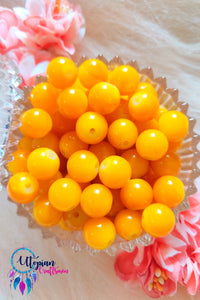 Round Shaded Yellow Colour Glass Beads 10mm - Approx 35 Pcs - Utopian Craftsmen