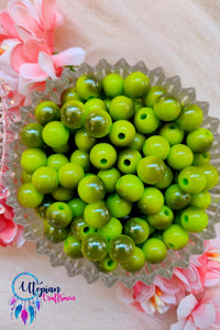 Dual shade Green Colour Round Acrylic Beads - Approx 100 Pcs in a Packet - Utopian Craftsmen