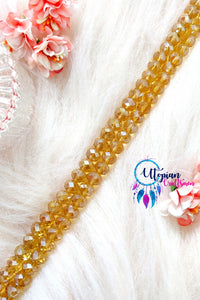Faceted Sparkling Honey Gold Colour Beads 10mm -35 Pcs - Utopian Craftsmen