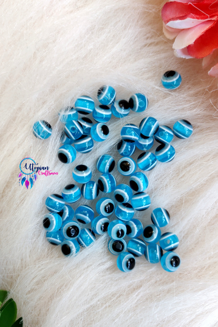 Sky Blue Colour Round 6mm Acrylic based Evil Eye Beads - 25 Pcs in a Packet - Utopian Craftsmen
