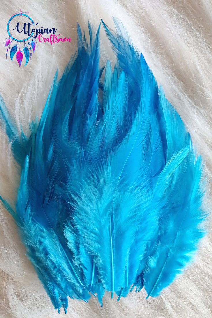 100 pcs Sky Blue Colour Long Pointed Chicken Feathers - Utopian Craftsmen