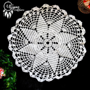 Handmade 10 Inches White Colour Crochet Doilies Mercerised Cotton