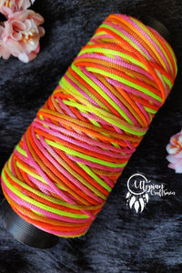 Neon Multicoloured with Brown Shade Cone Thread for Weaving & Knitting - Approx 125 metres. - Utopian Craftsmen