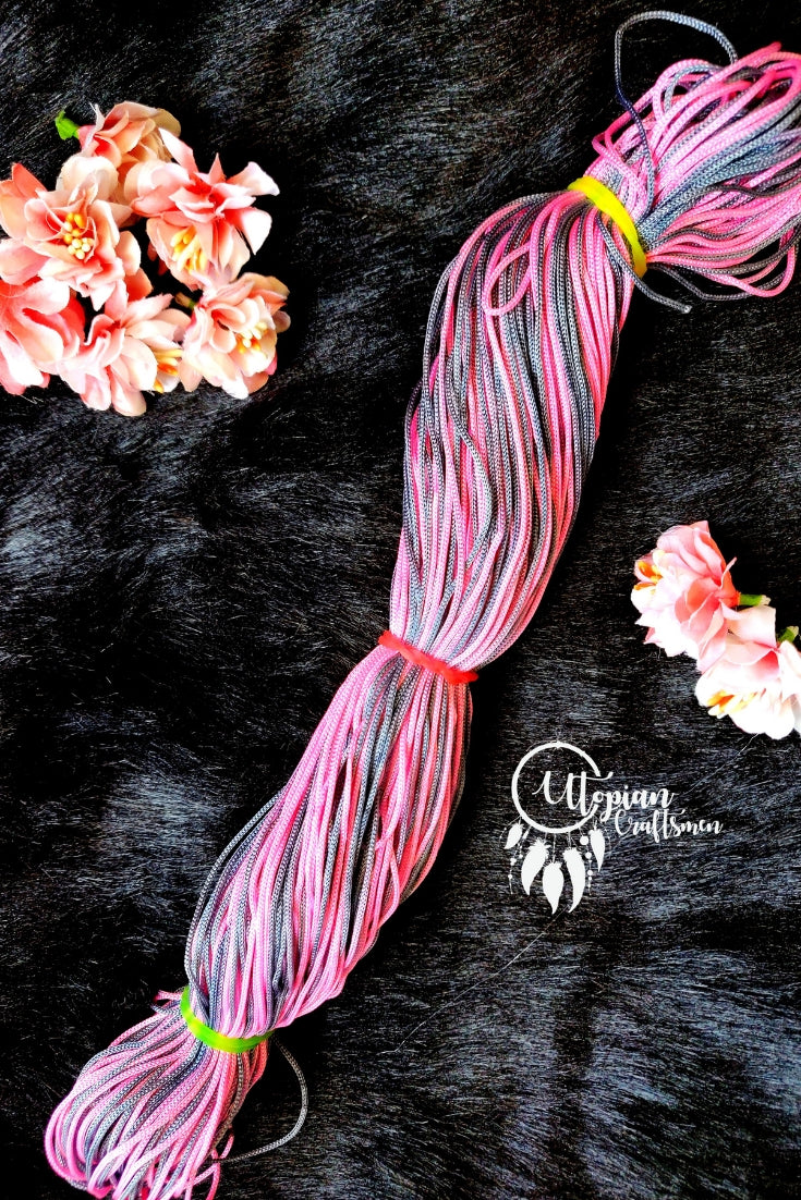 Pink & Grey Multicolored Threads for Weaving & Knitting - Approx 125 metres. - Utopian Craftsmen