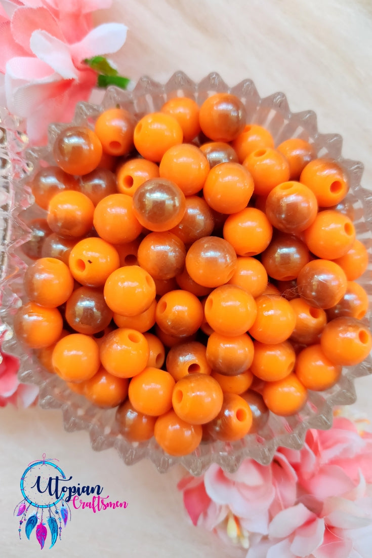 Dual shade Neon Orange Colour Round Acrylic Beads - Approx 100 Pcs in a Packet - Utopian Craftsmen