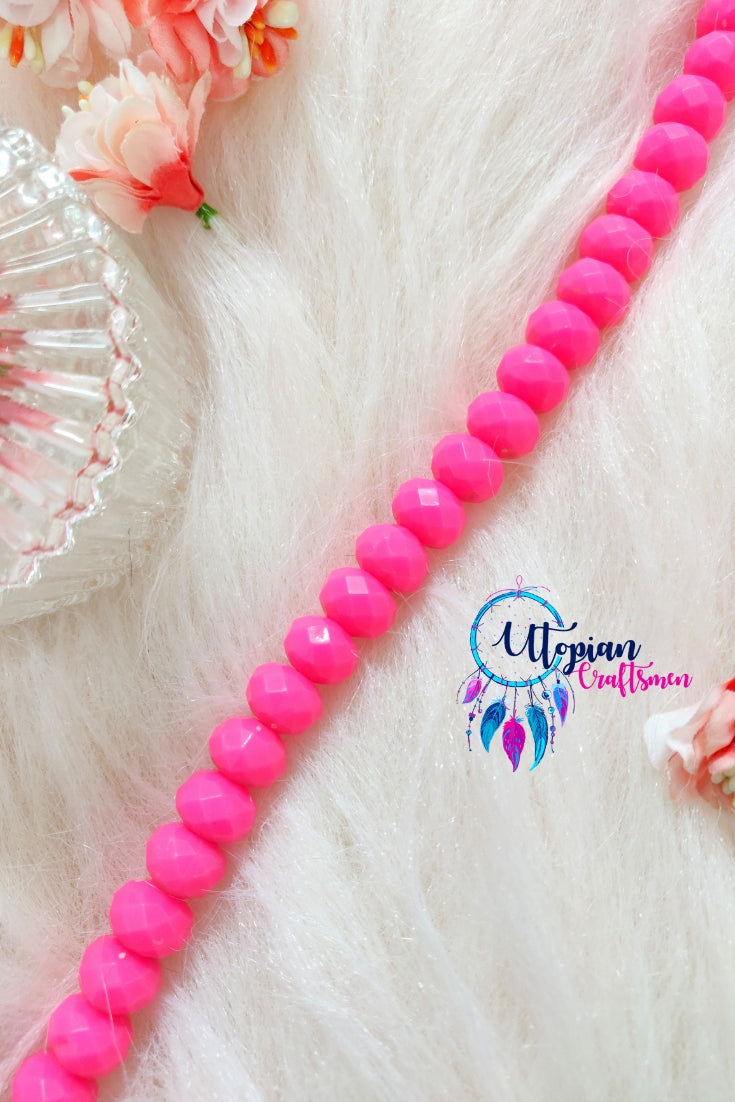Neon Pink Colour Faceted Beads 14mm -25 Pcs - Utopian Craftsmen