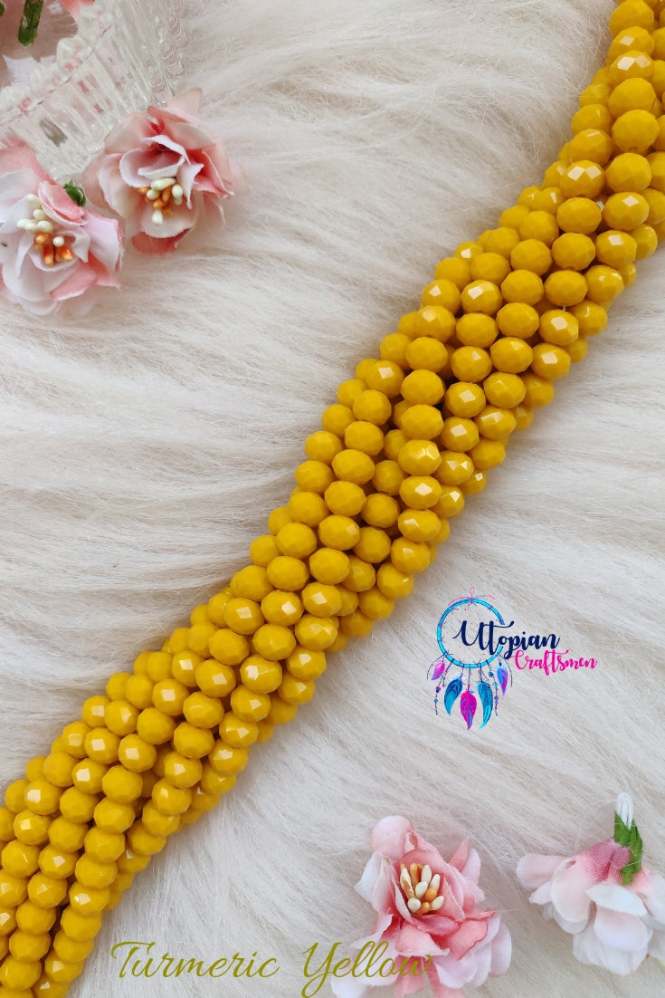 Turmeric Yellow Colour 8mm Faceted Opaque Beads 8mm -Approx 35 Pcs - Utopian Craftsmen