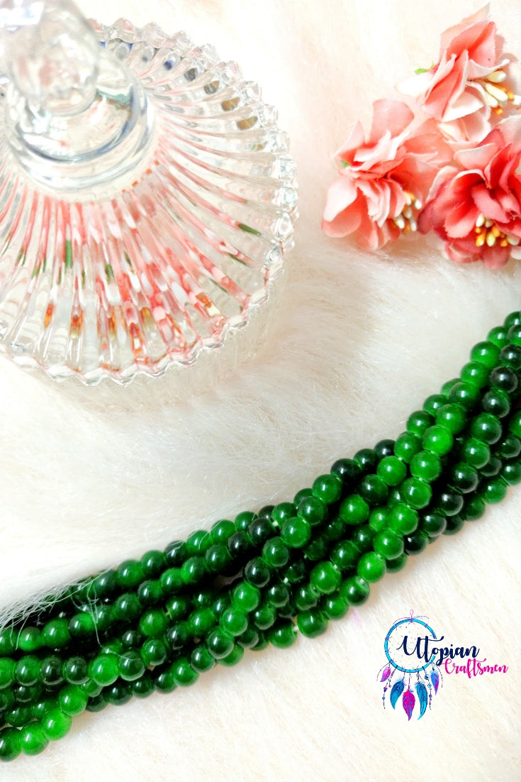 Round Shaded Green Colour Glass Beads 6mm - Approx 120 Pcs - Utopian Craftsmen