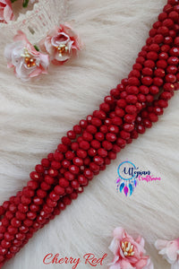 Cherry Red Colour 8mm Faceted Opaque Beads 8mm -Approx 35 Pcs - Utopian Craftsmen