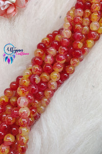 Shaded Red & Yellow Colour Round Glass Beads by Utopian Craftsmen- 8mm (50 Pieces) - Utopian Craftsmen