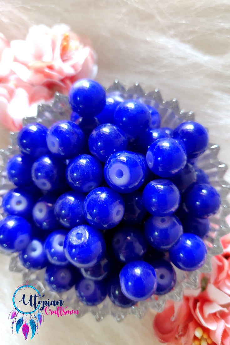 Round Shaded Dark Blue Colour Glass Beads 10mm - Approx 35 Pcs - Utopian Craftsmen