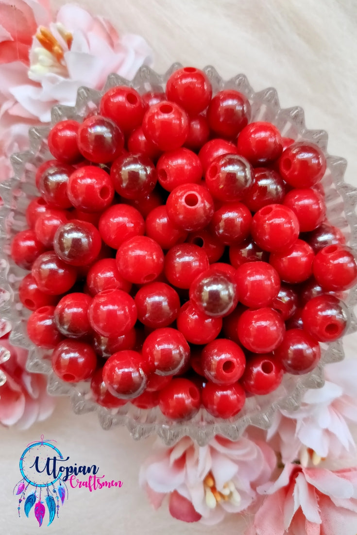 Dual shade Red Colour Round Acrylic Beads - Approx 100 Pcs in a Packet - Utopian Craftsmen
