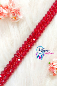 Faceted Cherry Red Colour Beads 12mm -35 Pcs - Utopian Craftsmen