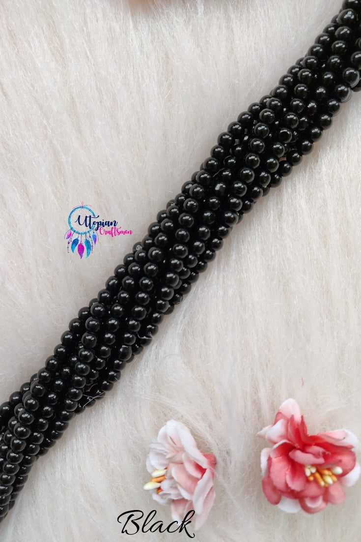 Black colour Round Glass Beads 5mm - 1 String 65+ Beads - Utopian Craftsmen