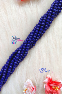 Blue colour Round Glass Beads 5mm - 1 String 65+ Beads - Utopian Craftsmen