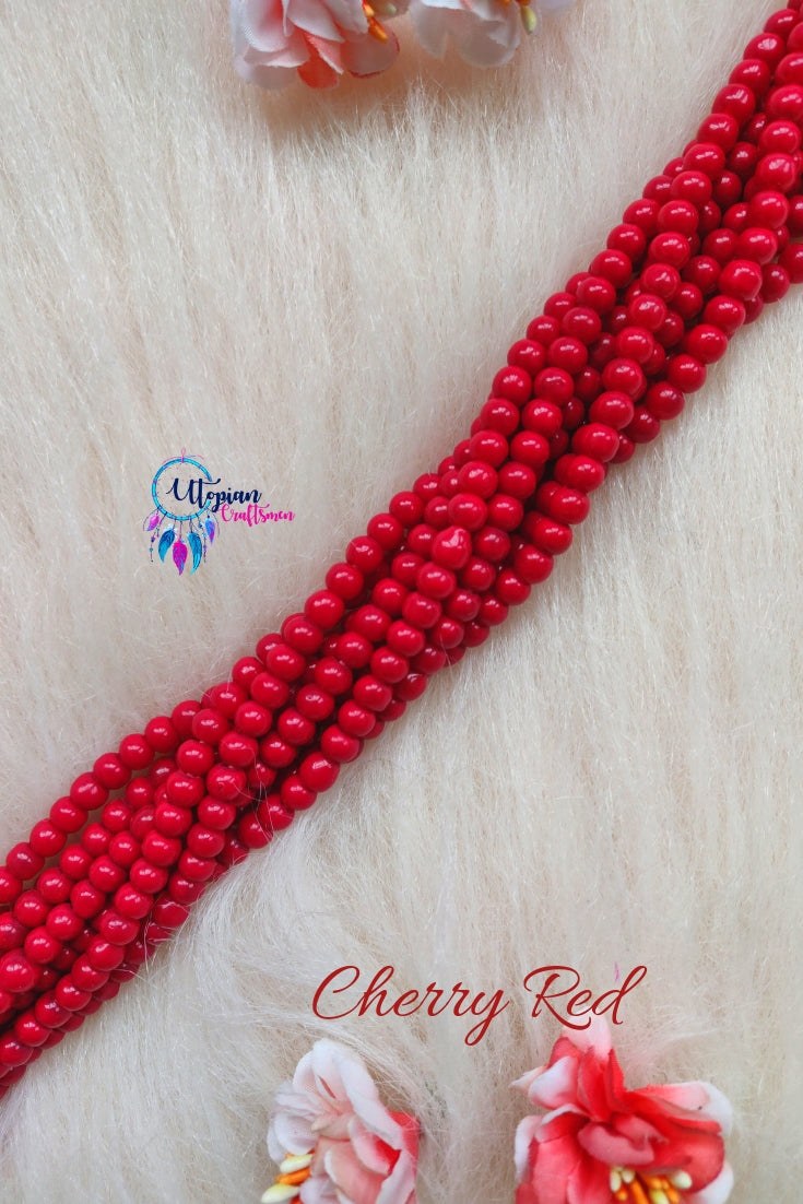 Cherry Red colour Round Glass Beads 5mm - 1 String 65+ Beads - Utopian Craftsmen
