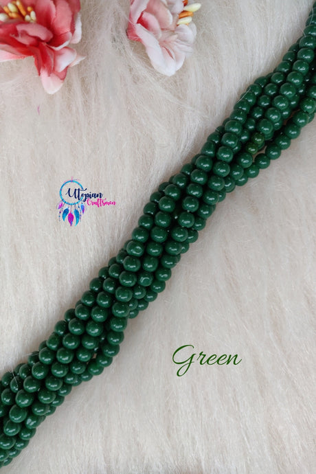 Green colour Round Glass Beads 5mm - 1 String 65+ Beads - Utopian Craftsmen