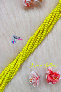 Neon Yellow colour Round Glass Beads 5mm - 1 String 65+ Beads - Utopian Craftsmen