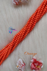 Orange colour Round Glass Beads 5mm - 1 String 65+ Beads - Utopian Craftsmen