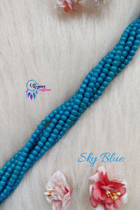 Sky Blue colour Round Glass Beads 5mm - 1 String 65+ Beads - Utopian Craftsmen