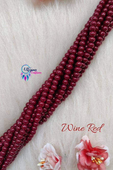 Wine Red colour Round Glass Beads 5mm - 1 String 65+ Beads - Utopian Craftsmen
